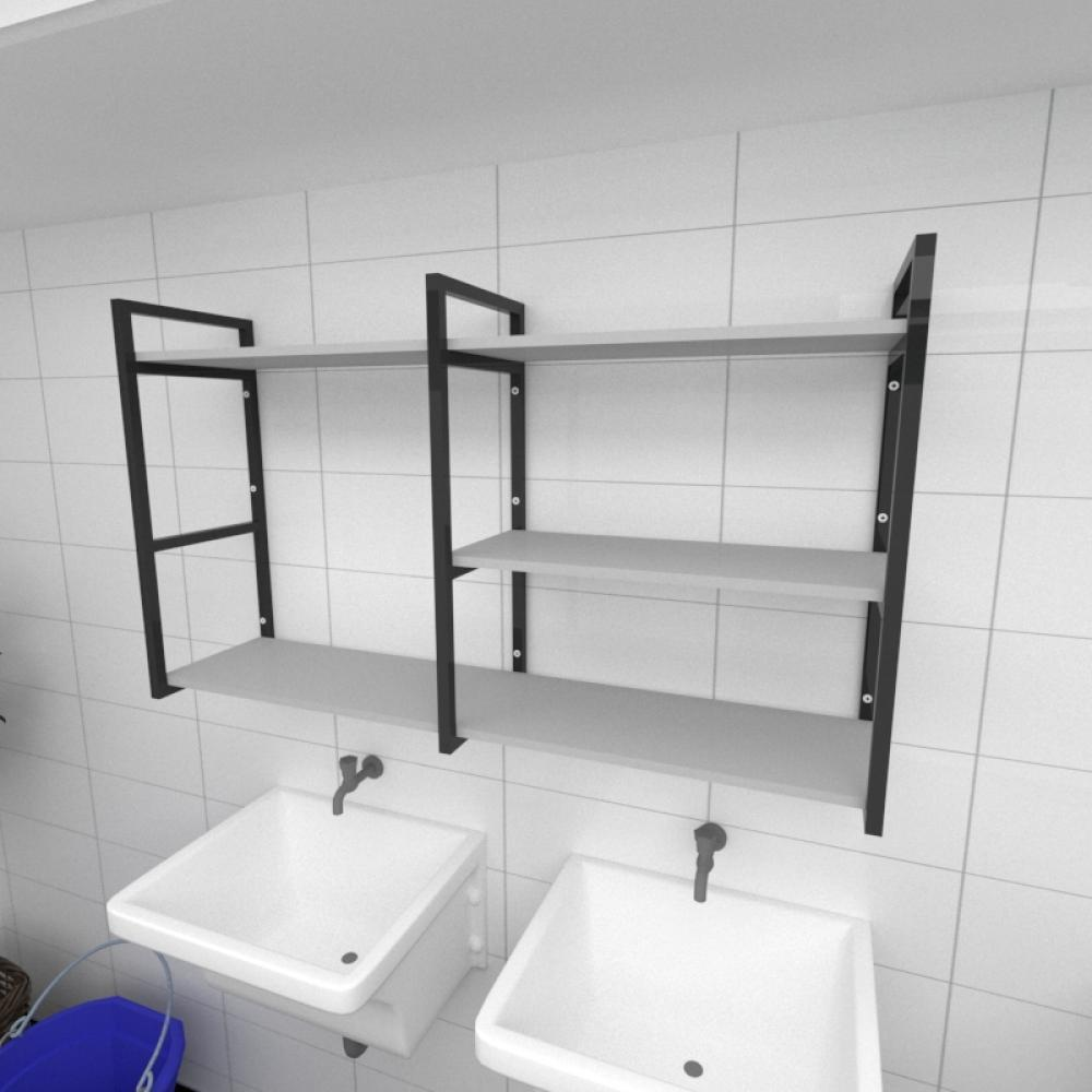 Prateleira industrial para lavanderia aço cor preto prateleiras 30cm cor cinza modelo ind14clav