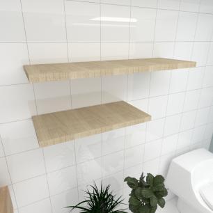 Kit 2 prateleiras banheiro MDF sup. Inivisivel amadeirado claro 1 60x30cm 1 90x30cm mod pratbnamc32