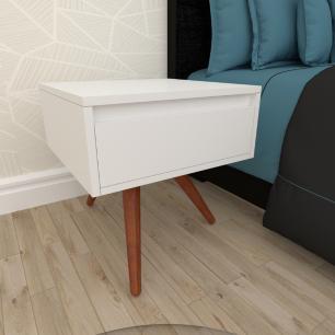 Mesa de Cabeceira com gaveta em mdf branco com 3 pés inclinados em madeira maciça cor mogno