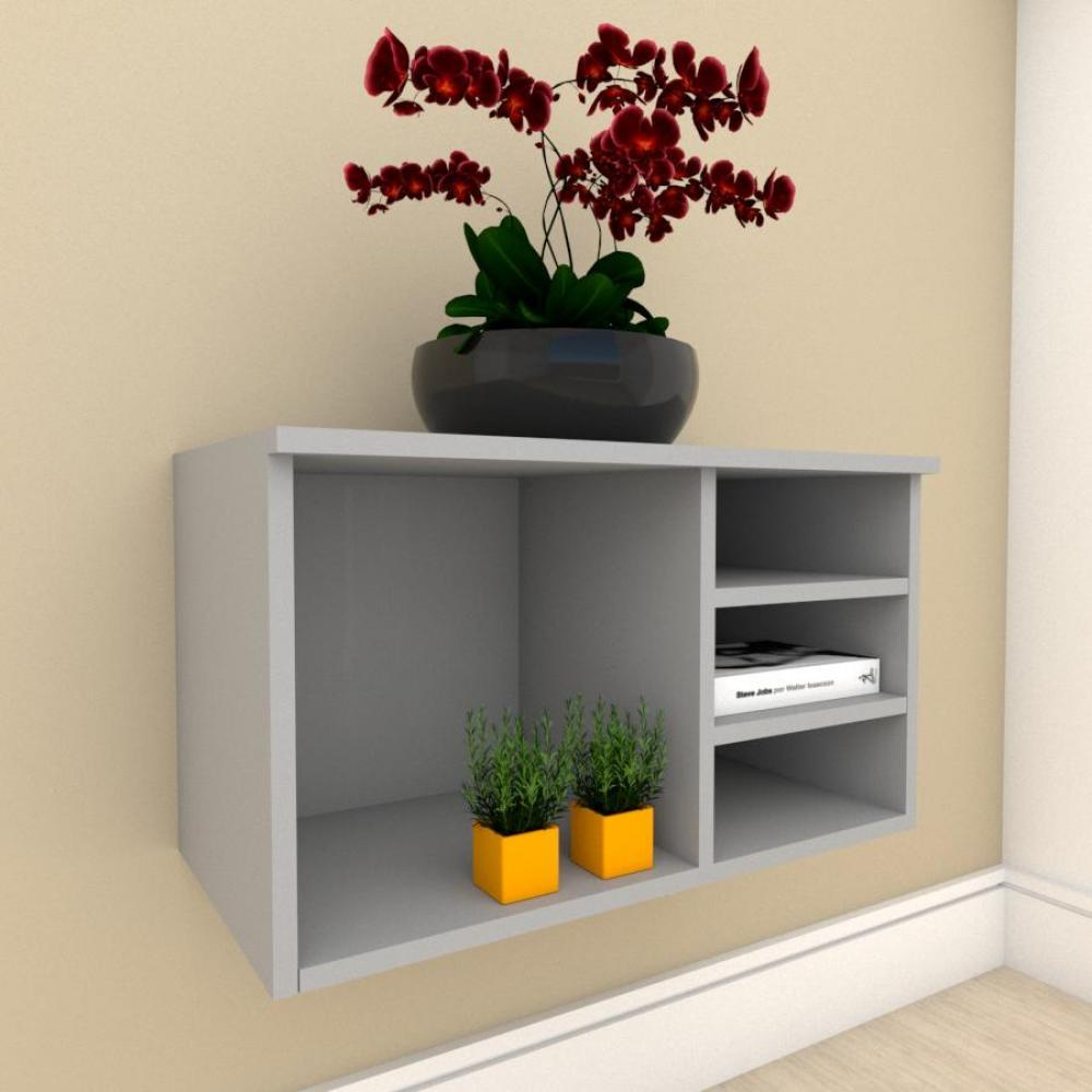 Rack minimalista com nichos em mdf Cinza