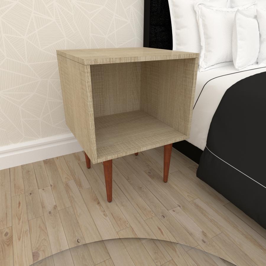 Mesa de Cabeceira moderna em mdf amadeirado claro com 4 pés retos em madeira maciça cor mogno