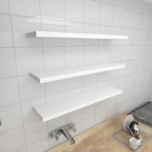 Kit 3 prateleiras para cozinha em MDF suporte Inivisivel branco 90x20cm modelo pratcb27