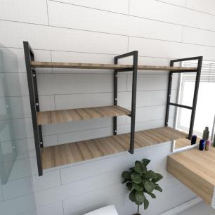 Prateleira industrial banheiro aço cor preto prateleiras 30cm cor amadeirado escuro mod ind14aeb