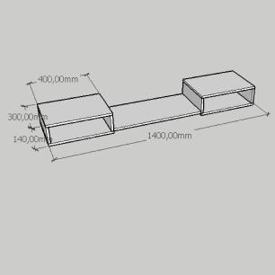 Aparador minimalista moderno com prateleira em mdf amadeirado