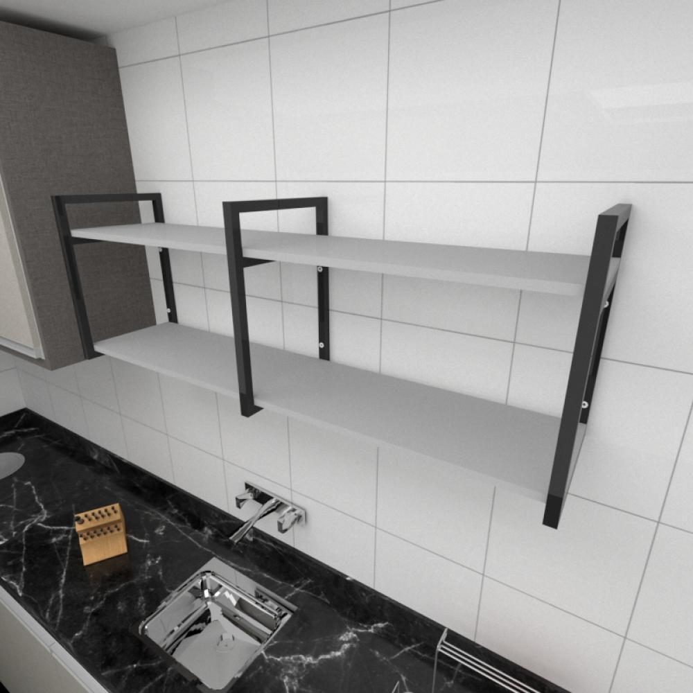 Prateleira industrial para cozinha aço cor preto prateleiras 30 cm cor cinza modelo ind04cc