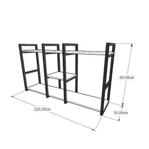 Prateleira industrial para lavanderia aço cor preto mdf 30 cm cor amadeirado claro modelo ind18aclav
