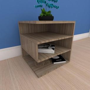 Mesa Lateral minimalista com nichos em mdf amadeirado
