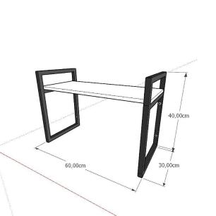 Prateleira industrial aço cor preto 30 cm MDF cor preto modelo indfb03psl