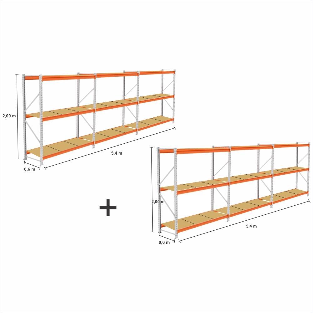 kit 6 Mini Porta Pallet 2 Inicial + 4 cont 250KG Com 3 niveis 2,00X1,80X0,60 com band. em MDF CRU