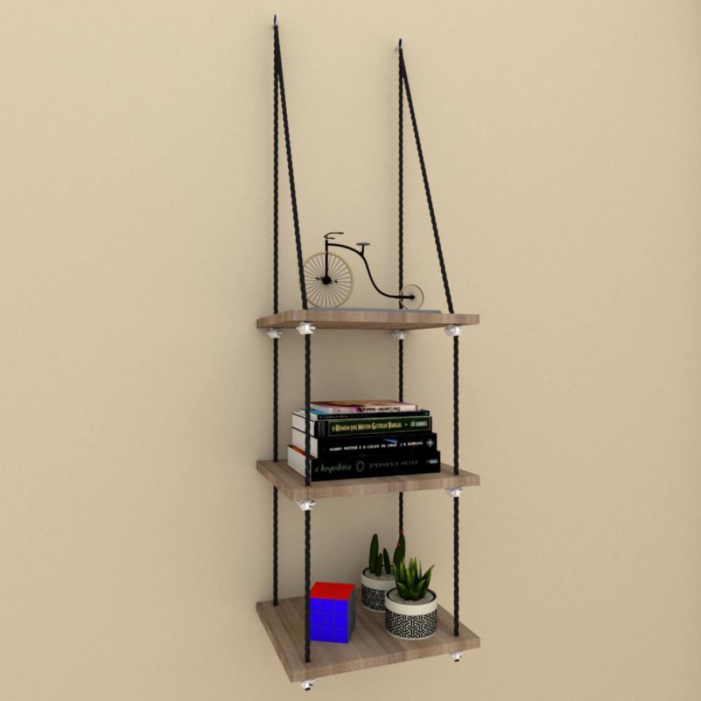 Tres prateleiras moderna com cordas, mdf Amadeirado escuro