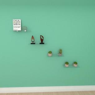 Kit com quatro Prateleira para escritório 30 cm vidro temperado