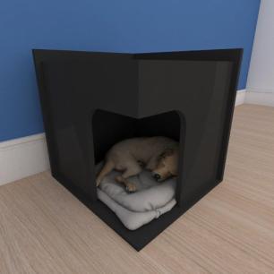 Mesa de cabeceira caminha slim pequeno cachorro em mdf preto