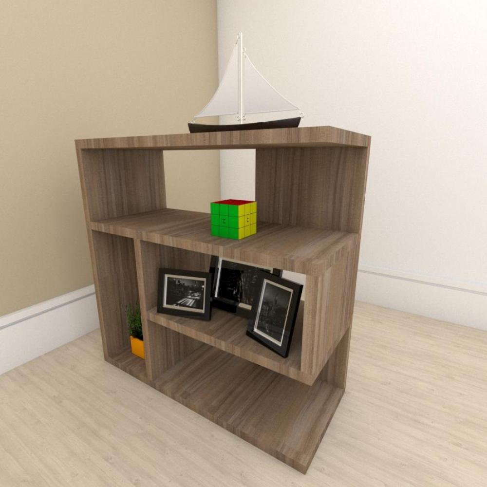 Estante escritório moderna com nicho em mdf Amadeirado