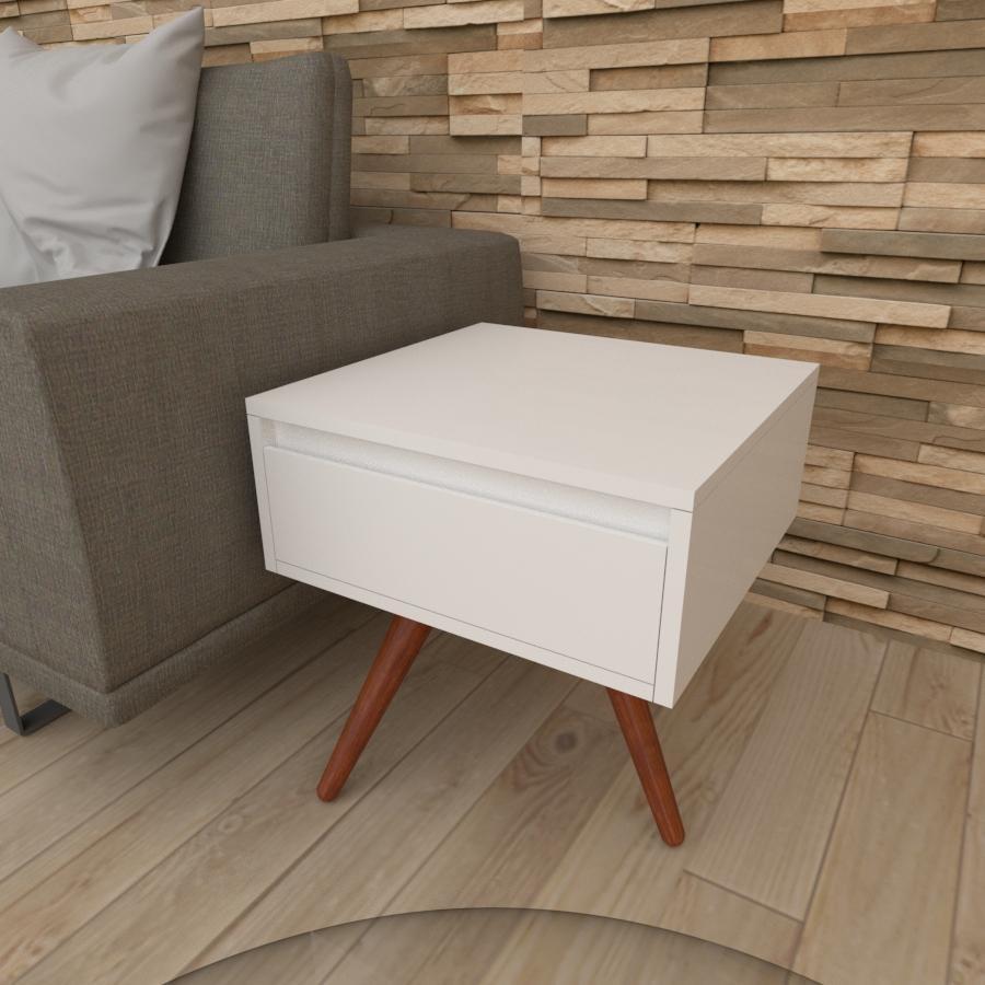 Mesa lateral com gaveta em mdf branco com 3 pés inclinados em madeira maciça cor mogno