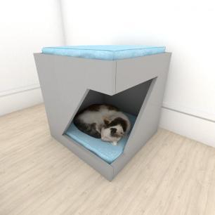 Mesa de cabeceira bercinho para Gato em mdf Cinza