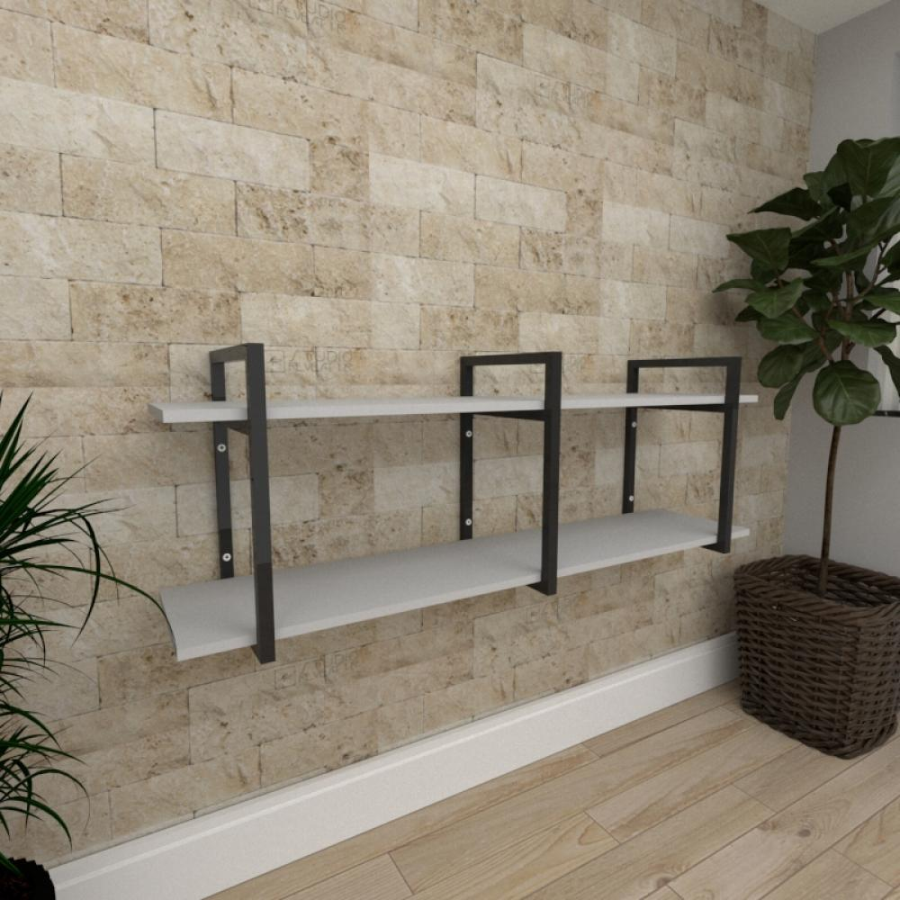 Mini estante industrial para escritório aço cor preto prateleiras 30cm cor cinza modelo ind05cep