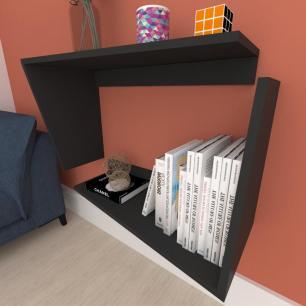 Estante Livros suspenço, nichos modernos, em mdf preto