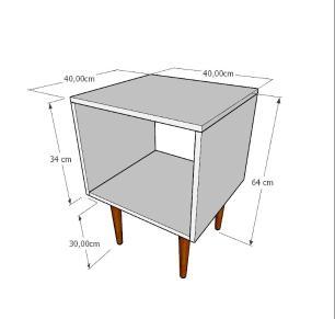 Mesa de Cabeceira nicho em mdf preto com 4 pés retos em madeira maciça cor tabaco