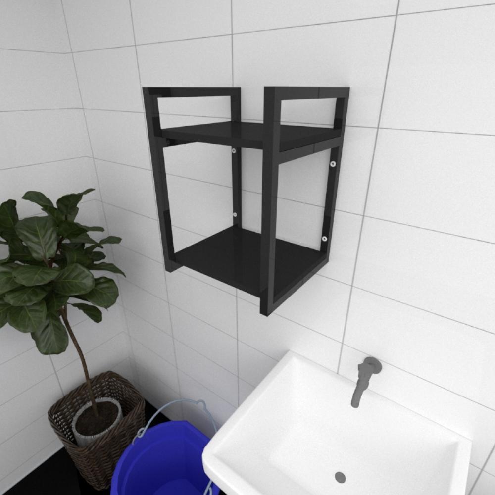 Prateleira industrial para lavanderia aço cor preto prateleiras 30cm cor preto modelo ind24plav