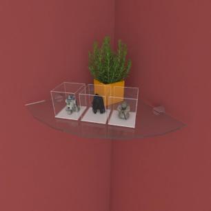 Kit com uma Prateleira para escritório de canto 30 cm vidro temperado