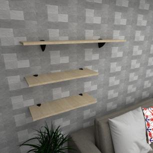 Kit 3 prateleiras sala em MDF suporte tucano amadeirado claro 2 60x20cm 1 90x20cm mod pratslamc18