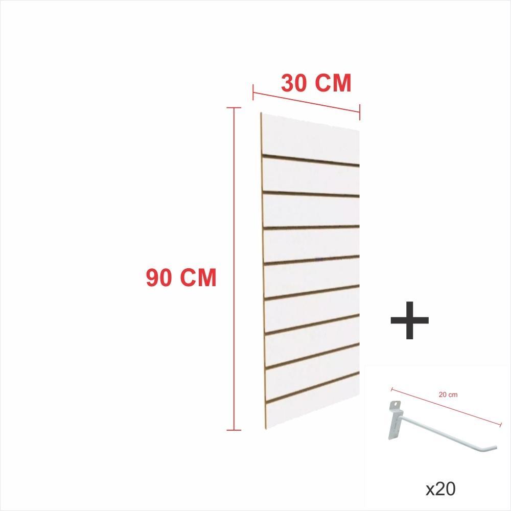 Kit Painel canaletado branco alt 90 cm comp 30 cm mais 20 ganchos 20 cm