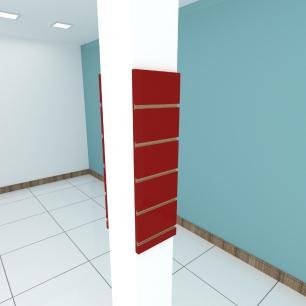 Kit 2 Painel canaletado para pilar vermelho escuro 2 peças 20(L)x60(A)cm