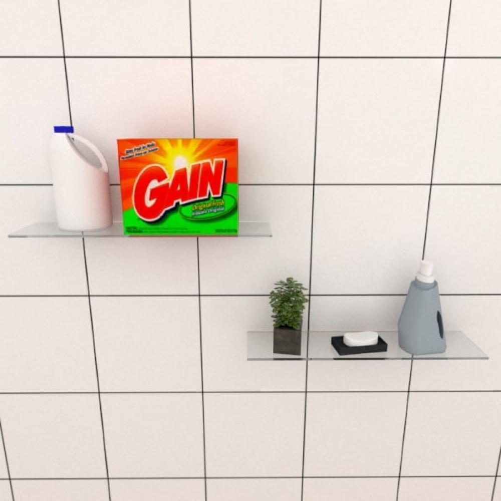 Kit com duas Prateleira para lavanderia 40 cm vidro temperado