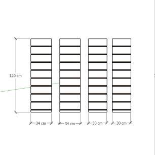 Kit 4 Painel canaletado para pilar cinza cristal 2 peças 34(L)x120(A) cm + 2 peças 30(L)x120(A) cm