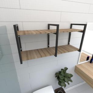 Prateleira industrial banheiro aço cor preto prateleiras 30cm cor amadeirado escuro mod ind22aeb