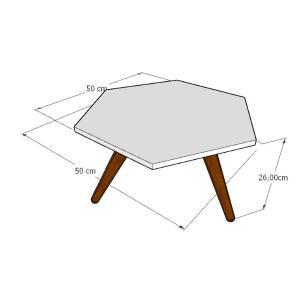 Mesa de Centro hexagonal em mdf amadeirado escuro com 3 pés inclinados em madeira maciça cor mogno
