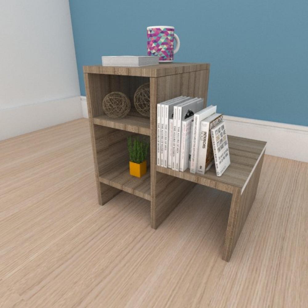 Mesa de cabeceira compacta moderna em mdf amadeirado
