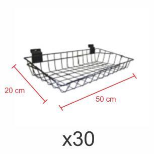 kit para expositor com 30 Cestos para painel canaletado 20x50 cm preto