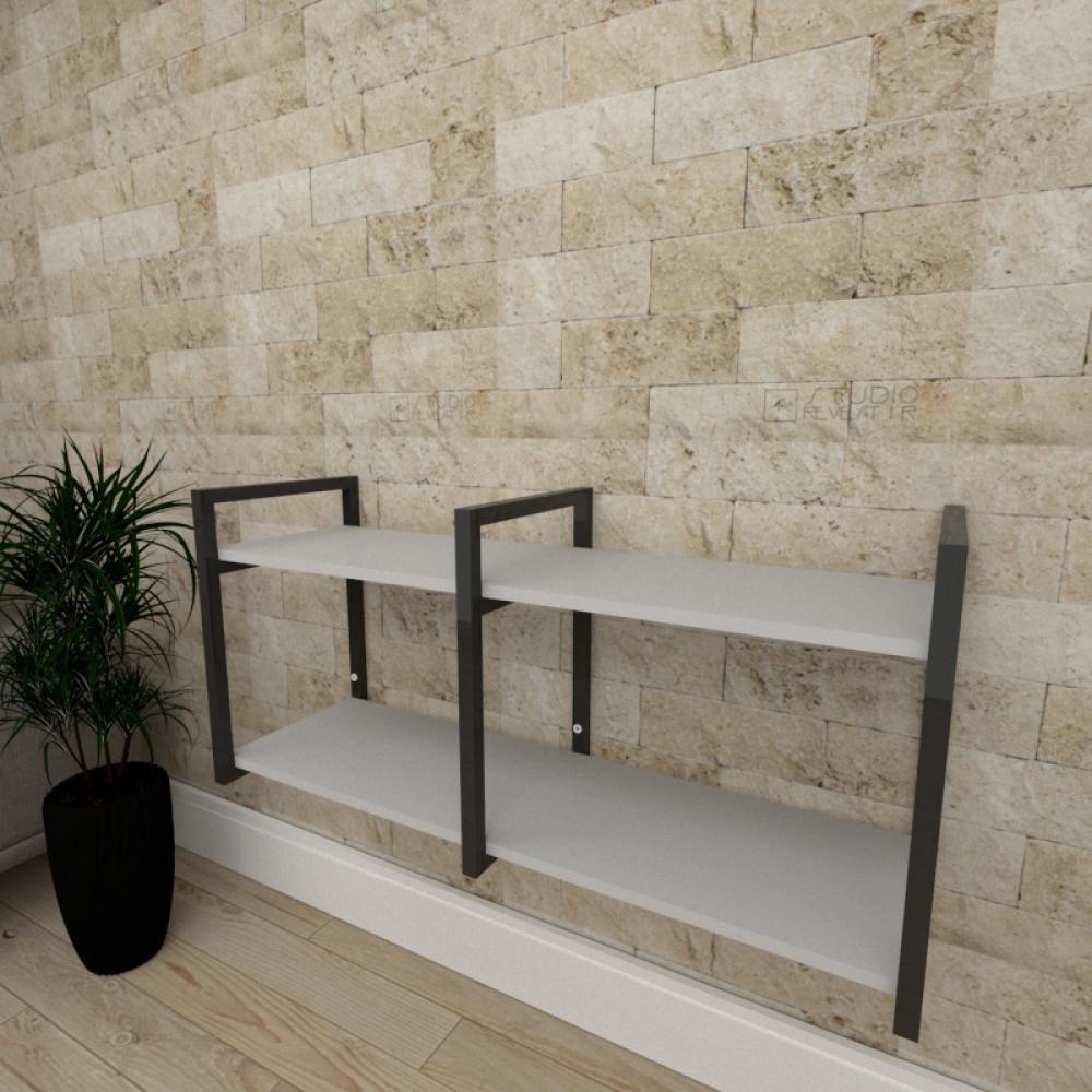 Mini estante industrial para sala aço cor preto prateleiras 30 cm cor cinza modelo ind22ceps