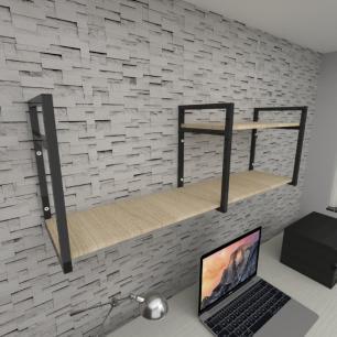 Prateleira industrial para escritório aço cor preto mdf 30 cm cor amadeirado claro modelo ind07aces