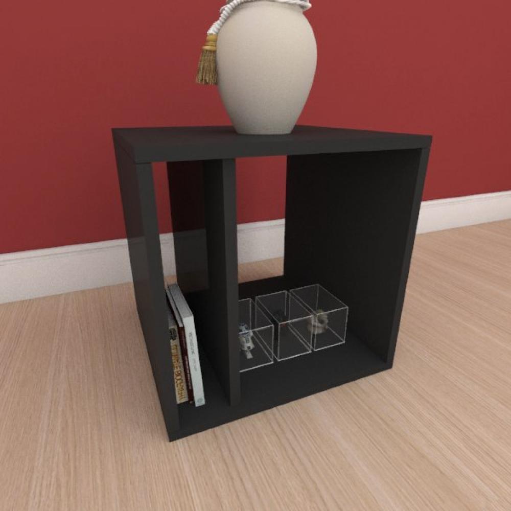 Mesa Lateral moderna com prateleiras em mdf preto