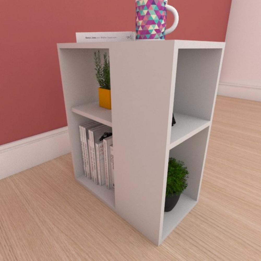 Mesa Lateral pequena com prateleira em mdf cinza