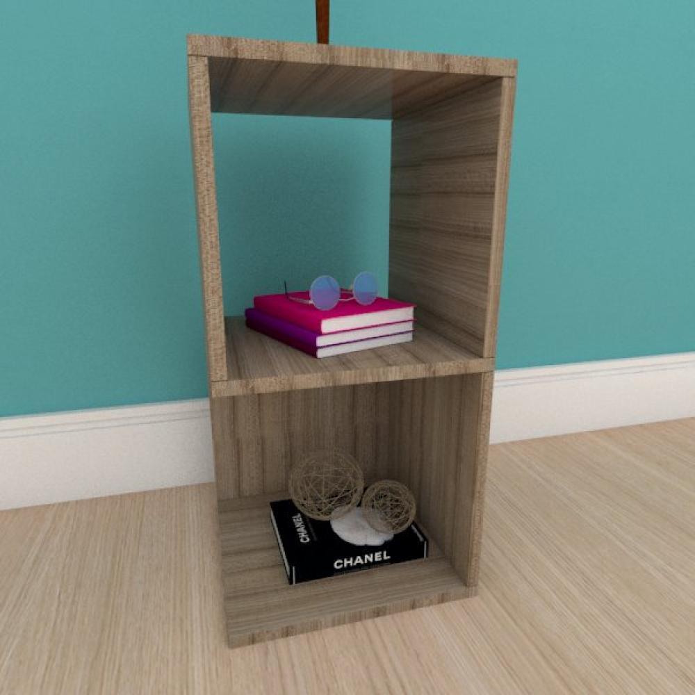 Kit com 2 Mesa de cabeceira simples nicho em mdf amadeirado