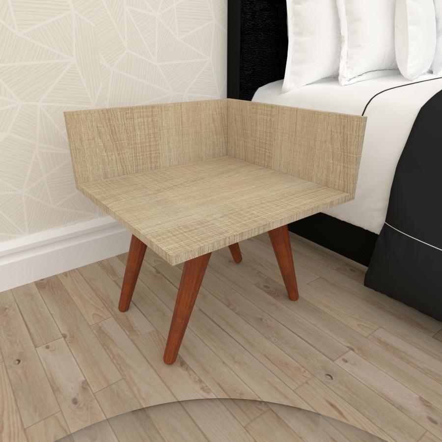 Mesa de Cabeceira simples em mdf amadeirado claro com 4 pés inclinados em madeira maciça cor mogno