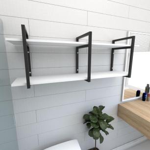 Prateleira industrial para banheiro aço cor preto prateleiras 30 cm cor branca modelo ind05bb