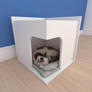 Mesa de cabeceira caminha slim pequeno gato em mdf branco