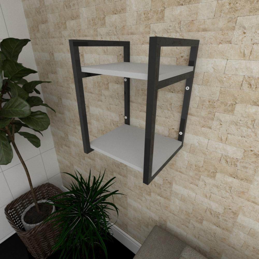 Prateleira industrial para Sala aço cor preto prateleiras 30 cm cor cinza modelo ind24csl