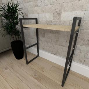 Mini estante industrial para escritório aço cor preto mdf 30cm cor amadeirado claro modelo ind15acep