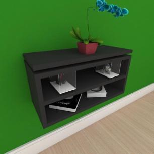 Mesa de cabeceira suspensa com prateleira em mdf preto
