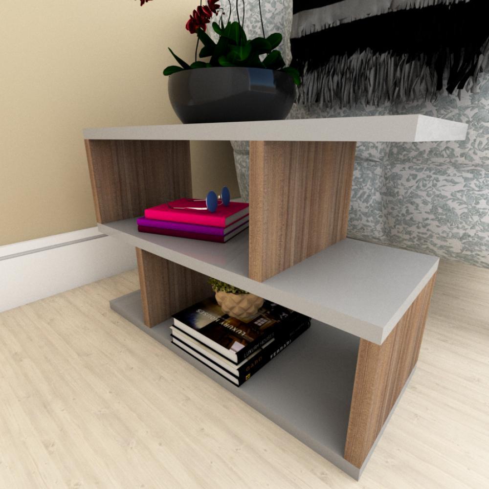Mesa Lateral Sofá moderna cinza com amadeirado escuro
