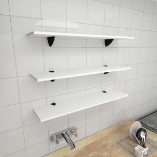 Kit 3 prateleiras para cozinha em MDF suporte tucano branco 90x20cm modelo pratcb09