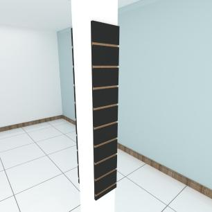 Kit 2 Painel canaletado para pilar preto 2 peças 20(L)x120(A)cm