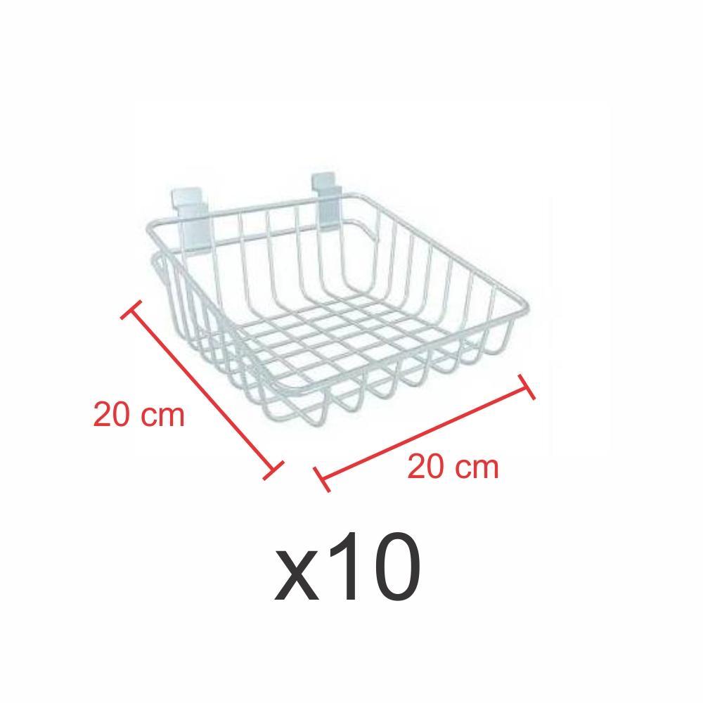 Kit com 10 Cestos para painel canaletado 20x20 cm branco