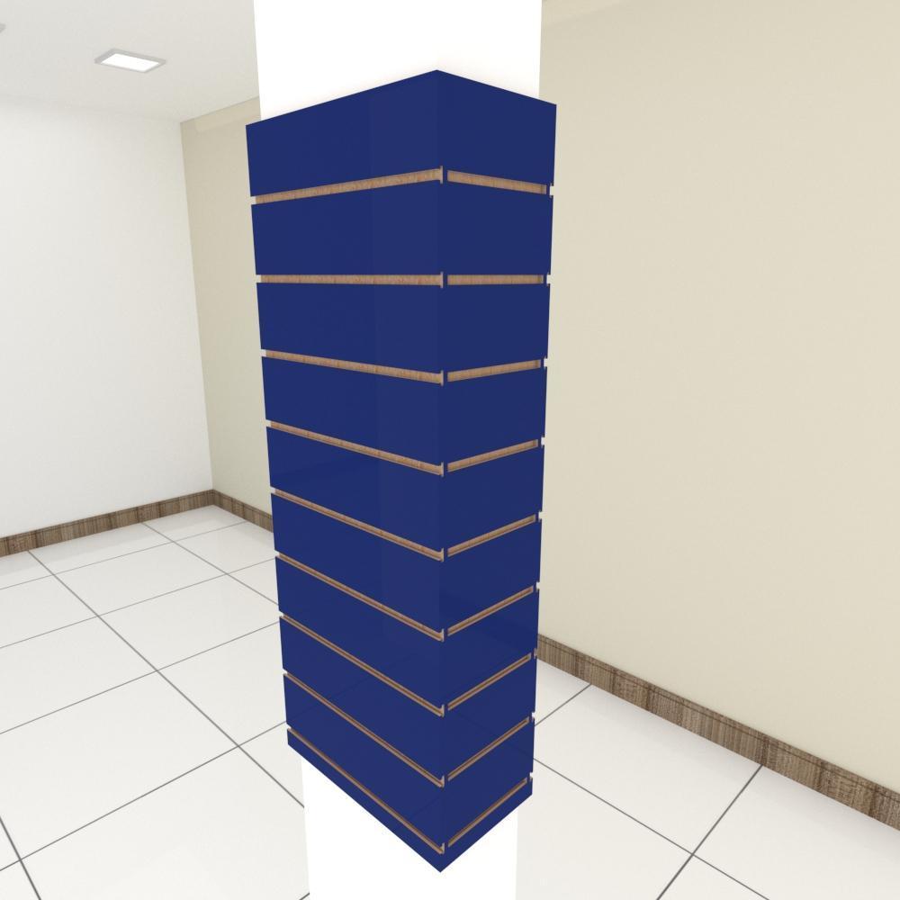 Kit 4 Painel canaletado para pilar azul escuro 2 peças 44(L)x120(A)cm + 2 peças 20(L)x120(A)cm