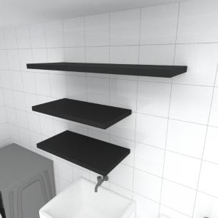 Kit 3 prateleiras lavanderia em MDF sup. Inivisivel preto 2 60x30cm 1 90x30cm modelo pratlvp33